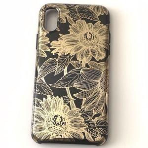 Iphone Case X / Xs Black/Gold Floral Print